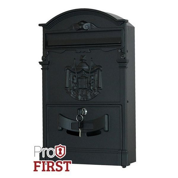 Artistic Stylish A4 Black Post Box with Regal Crest Pro First 700 Mailbox