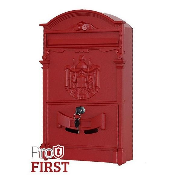 Artistic Traditional A4 Red Post Box with Regal Crest Pro First 700 Mailbox