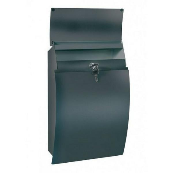 Contemporary Modern Black Post Box Pro First 130 Steel Letterbox