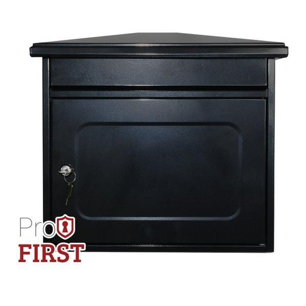 Extra Large 320 Black Steel Post Box
