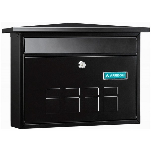 Decorative Steel Wall Mounted A4 Post Box Black Deco