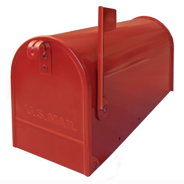 US Mailbox Red Galvanized Steel Red Flag Letterbox