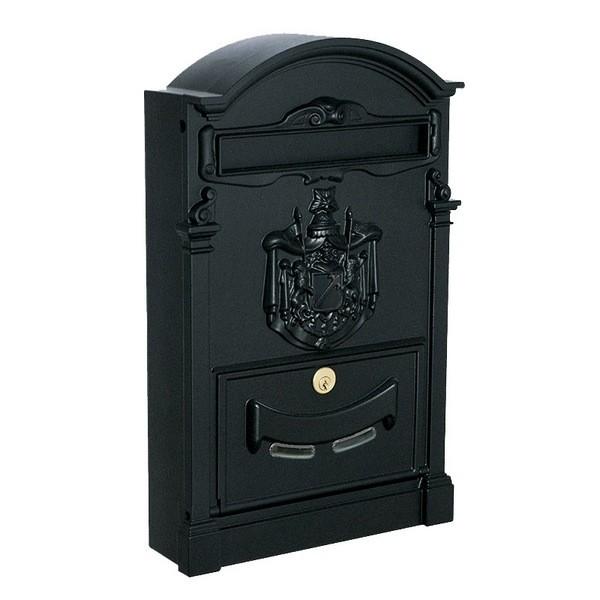 Large Traditional Post Box Black Aluminium Regency