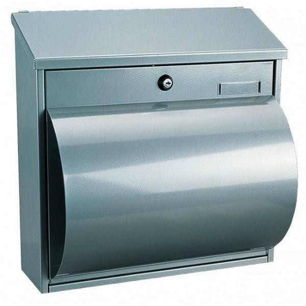 Large Silver Post Box Pro First 290 with Newspaper Holder