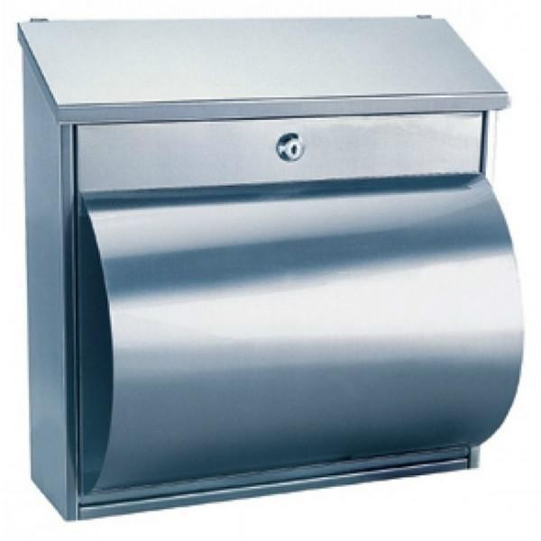 Large Stainless Steel Post Box Pro First 290 with Newspaper Holder