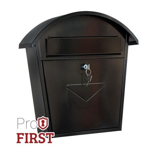Large Traditional Black Steel Front Loading Post Box Pro First 710 Mailbox