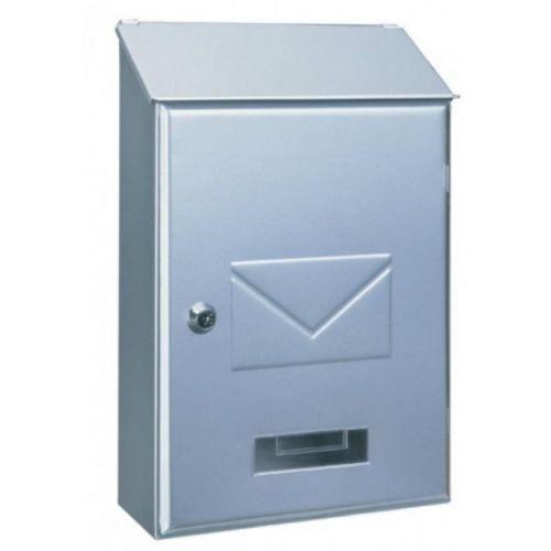 Designer Top Loading Silver / Green Post Box Key lock Steel Mailbox Letterbox