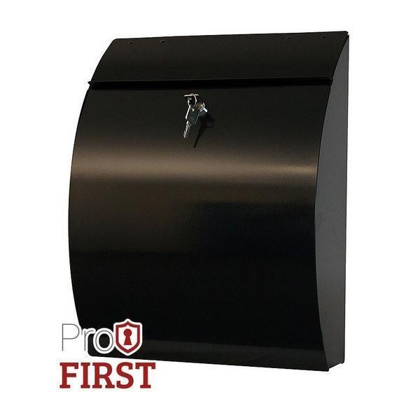 Modern Steel A4 Black Post Box Pro First 210 Letterbox