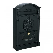 Large Traditional Post Box Black Aluminium Regency