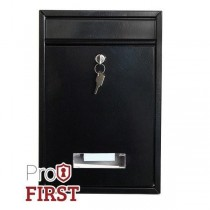 Small Black Modern Post Box Steel Pro First 480
