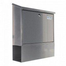 Large Silver Post Box Pro First 331 with Newspaper Holder