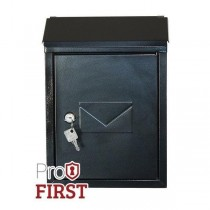 Designer Black Pro First 400 Post Box Steel Key Lock Letterbox