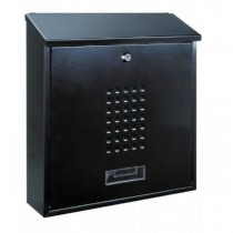 Large Modern A4 Black Steel Post Box Pro First 310 Letterbox