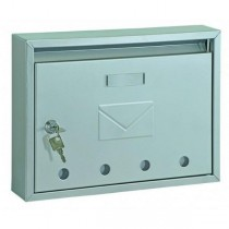 Classic Steel Front Loading Silver Post Box Pro First 100 Mailbox