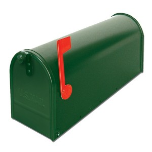 US Mailbox Green Galvanized Steel Red Flag Letterbox