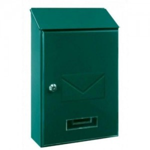 Designer Top Loading Silver / Green Post Box Key lock Steel Mailbox Letterbox