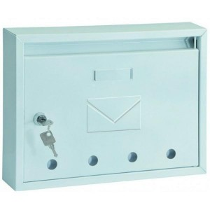 Classic Steel Front Loading White Post Box Pro First 100 Mailbox